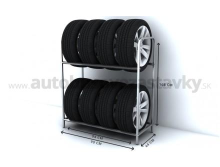 Regál na pneumatiky, 8 miestny
