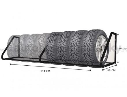 Nástenný držiak na pneumatiky, 8 miestny