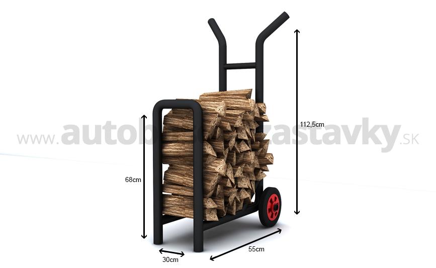 vozík na palivové drevo vyrobený z masívnych materiálov. Cena vozíka na drevo zodpovedá kvalite výrobku. Vyrába sa v pozinkovanom a čiernom prevedení.