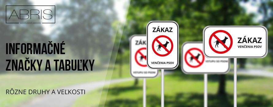 Široká ponuka dopravných a zákazových značiek. Zákaz venčenia psov cena 15,24 eur, Zákaz vstupu so psom cena 15,24 eur, Zakaz vstupu na stavenisko cena 15,24 eur, Značka zákaz fajčenia so symbolom cena 15,24 eur, Značka FAJČIARSKÁ zóna  so symbolom cena 15,24 eur. Zákazové značky s vlastným textom a symbolom cena 15,24 eur